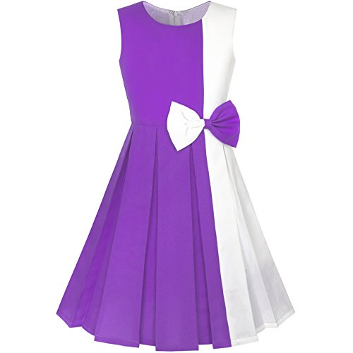 Sunny Fashion LA98 Girls Dress Color Block Contrast
