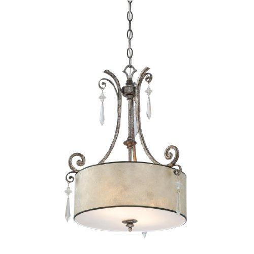 Quoizel KD2816MM Kendra 2-Light Chandelier with Oyster Mica Shades Mottled Silver  sc 1 st  Amazon.com & Mica Pendant Light Fixture: Amazon.com