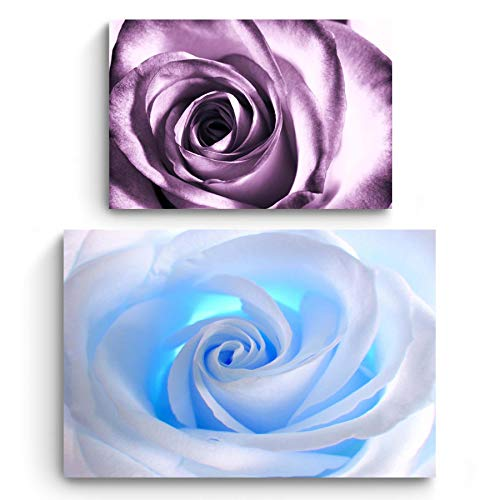 STARTONIGHT Canvas Wall Art | Flowers | White Rose and Purple Rose | Buy one Get Two | Bundle Offer | Modern Home Decoration | Ready to Hang Paintings