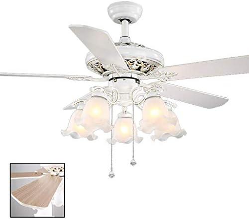 天井のファンランプのファンランプレストランレトロ扇風機ランプリビングルームベッドルームシンプル天井のファンランプをLED扇風機シャンデリア (Color : 白, Size : 108cm)