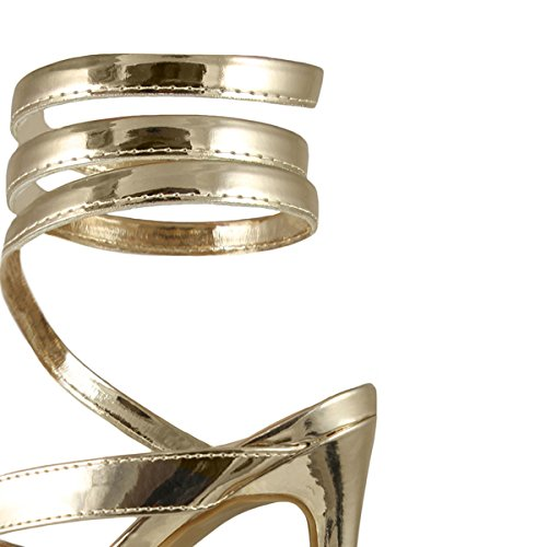c37da8068a1f22 ... Anne Michelle Femmes Orteil Ouvert Bobine Spirale Jambe Wrap Strappy  Talon Haut Talon Pompe Sandales Or