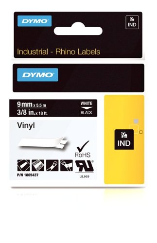 DYMO Rhino Adhesive Vinyl Label Tape, 3/8-inch, 18-foot Cassette, Black (1805437)