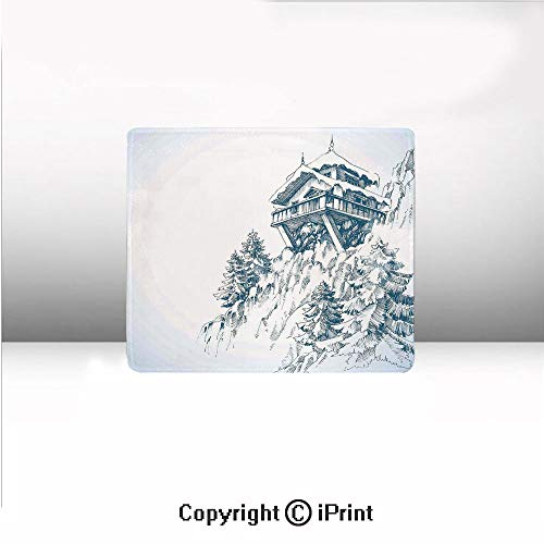 Custom Mouse pad,Snowy Winter Landscape Painting with Mountain Hut Wooden Temple Pine Tree Forest Art Print,8.2