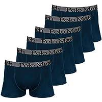 Kit com 6 Cuecas Boxer de Cotton Marinho Elástico Bordado- Polo Match