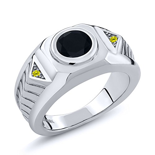 1.68 Ct Round Black Onyx Canary Diamond 925 Sterling Silver Men's Ring - Canary Bezel