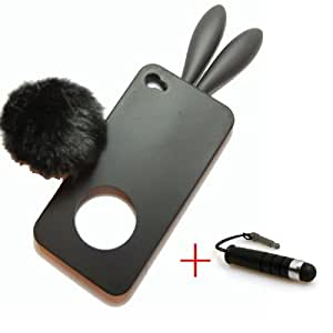 Demarkt combinación negro suave Protector de conejo de funda con tapa para iPhone 4 + Mini lápiz capacitivo