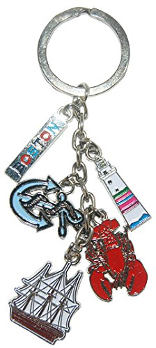 Boston MA 5 Charm Keychain Featuring Boston Harbor Charms Including Boston Lobster, Anchor and (Party City Ma)