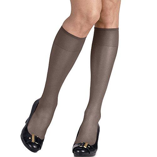 Silk Hosiery (Hanes Silk Reflections Women's Silky Sheer Sandalfoot Kneehighs, Barely Black, One Size (Pack of 6))