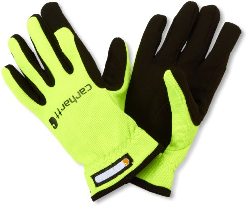 Carhartt Men's Work Flex Spandex Work Glove with Water Repellant Palm, Hi Visibility Lime, XX-Large