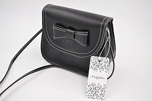 Nodykka Leather Bowknot PU Bags Handbags Cross Purse Black Strap Shoulder One Body Clutches xI5wqI