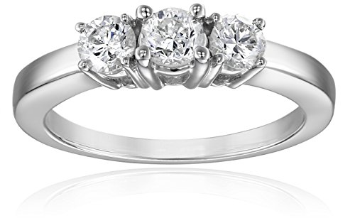 14k White Gold 3-Stone Diamond Ring (3/4 cttw, I-J Color, I1-I2 Clarity), Size 9 by Amazon Collection