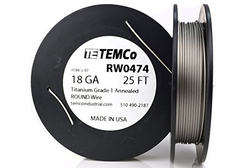 TEMCo Titanium Wire 18 Gauge 25 Ft Surgical Grade 1 Resistance AWG ga (Best Titanium Wire For Vaping)