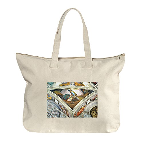 David Und Goliath (Michelangelo) Canvas Beach Zipper Tote Bag (David Goliath Bags)