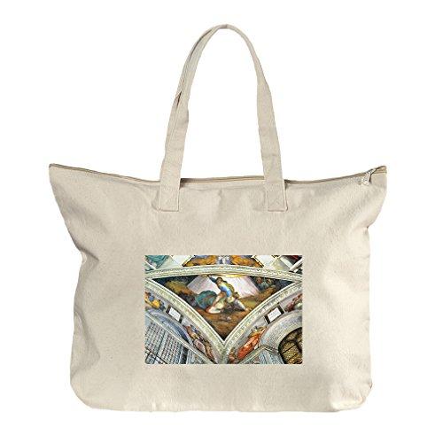 David Und Goliath (Michelangelo) Canvas Beach Zipper Tote Bag (David Goliath Bags)