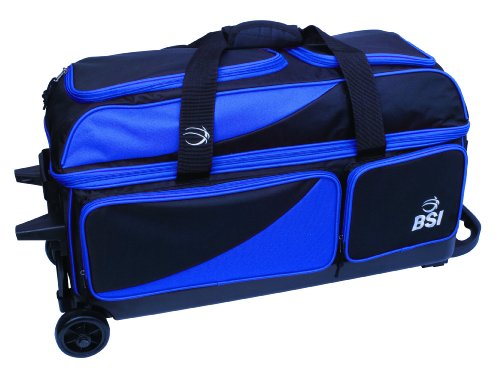 BSI Triple Ball Roller Bowling Bag, Black/Blue