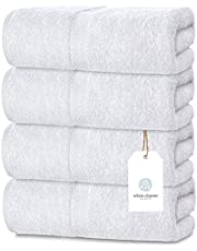 White Classic Luxury Cotton Bath Towels Large -   Highly Absorbent Hotel spa Collection Bathroom Towel   27x54 Inch   Set of 4