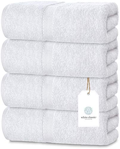 Luxury White Bath Towels Large - 700 GSM Circlet Egyptian Cotton | Absorbent Hotel Bathroom Towel | 27x54 Inch | Set of four