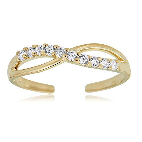 10K Yellow Gold Adjustable Sideways Infinity Toe Ring with Simulated Diamond CZ