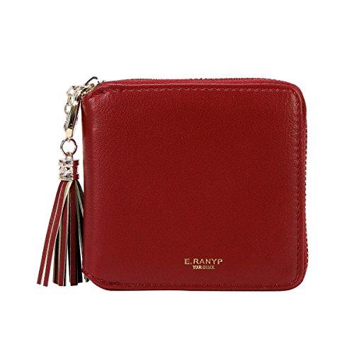 Damara Womens Practical Tassel Zipper Mini Coin Case Wallet,Darkred by Damara