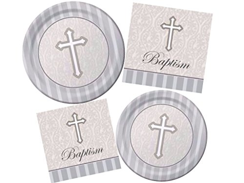 Creative Converting Devotion Cross Baptism Celebration - Includes Dinner & Dessert Plates and Luncheon & Beverage Napkins for 16 (Baptism Celebration)