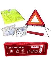 Auto's verbanddoos verbanddoos verbandtas gevarendriehoek veiligheidsvest eerste hulp combitas rood, eerste hulp volgens DIN 13164 gevarendriehoek ECE + veiligheidsvest EN