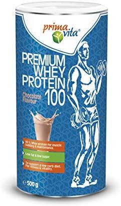 Primavita - Premium Molkenprotein 100 mit 93% Molkenprotein, fettarm, zuckerarm, Schokolade, 500g (20 Portionen)
