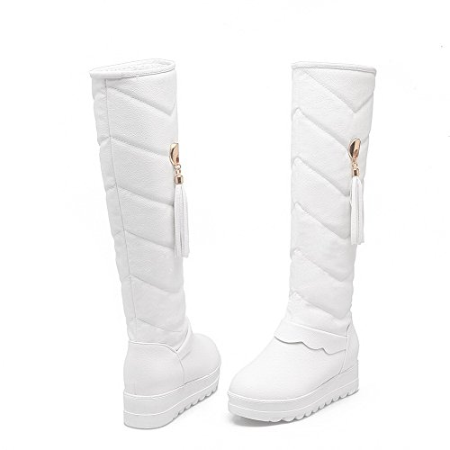 AgooLar Women's Round Closed Toe Kitten-Heels Soft Material High-top Solid Boots White hCgDESB
