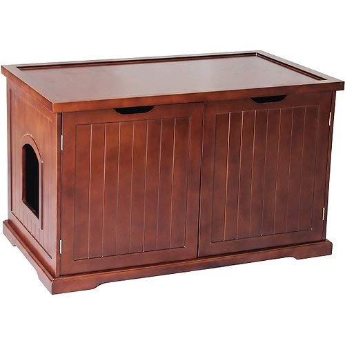 - Merry Products Cat Washroom Bench Decorative Litter Box Cover & Storage - Walnut