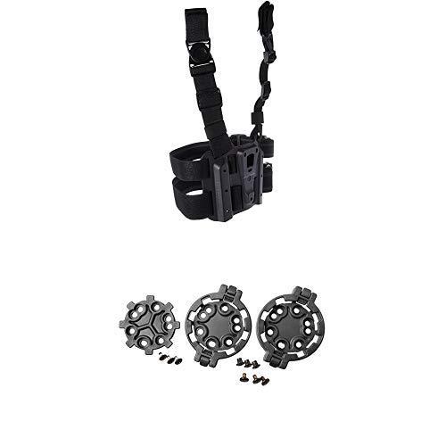 (BLACKHAWK! 432000PBK Tactical Holster Platform, Black and BLACKHAWK! SERPA Quick Disconnect Kit (2 Female/1 Male), Black)