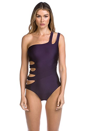 Becca by Rebecca Virtue Women's Reversible Asymmetrical One Piece Swimsuit Plum S by Becca by Rebecca Virtue