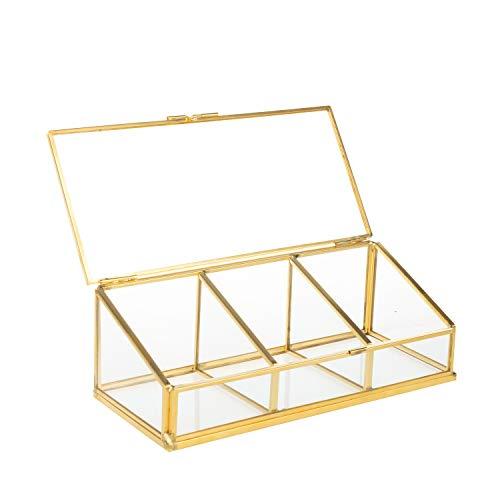 Feyarl Gold Jewelry Trinket Glass Box Flip Ring Earring Studding Necklace Box Clear Decorative Box Jewelry Organizer Keepsake Box Beauty Display Case ()