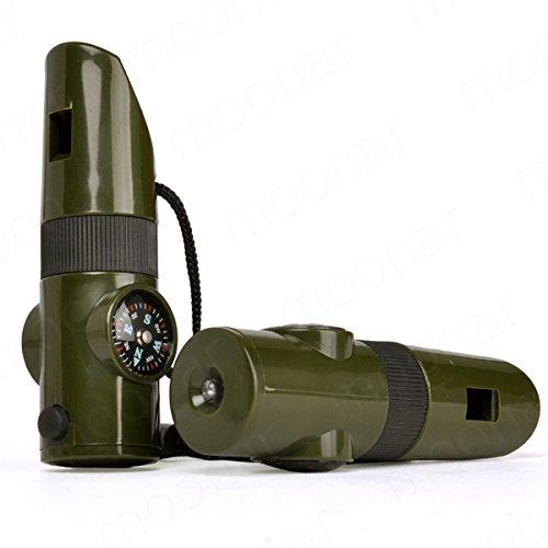HMOCNV - Silbato de supervivencia con brújula LED 7 en 1 para acampada, entrenamiento militar, seguridad de emergencia