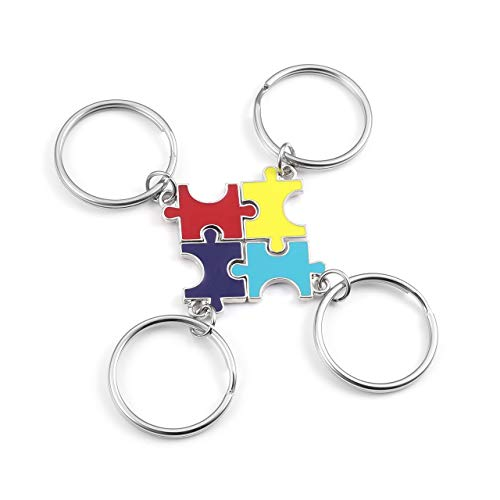 Top Plaza 4 Pcs BFF Best Friend Friendship Family Keychains Matching Puzzle Pendant Charm Set - Colorful