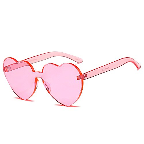 SMALLE ◕‿◕ Fashion Glasses for Women Colored, One Piece Heart Shaped Rimless Sunglasses Transparent Candy Color