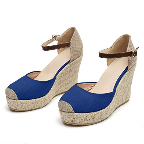 Zlolia Women's Espadrilles Upper Wedge Sandals Wrap Toe Ankle Adjustable Strap Heeled Rubber Sole Chic Platform Blue ()