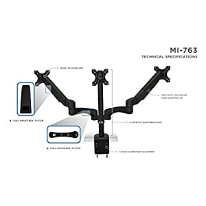 Mount-It! Triple Monitor Desk Mount Arm / Stand, Height Adjustable Gas Spring Arms, Fits 19, 20, 24 Inch Screens