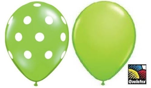 12 Assorted Balloons - Lime Green with White Polka Dots and Plain Lime Green by Qualatex - made in - Mall White Plains Shopping