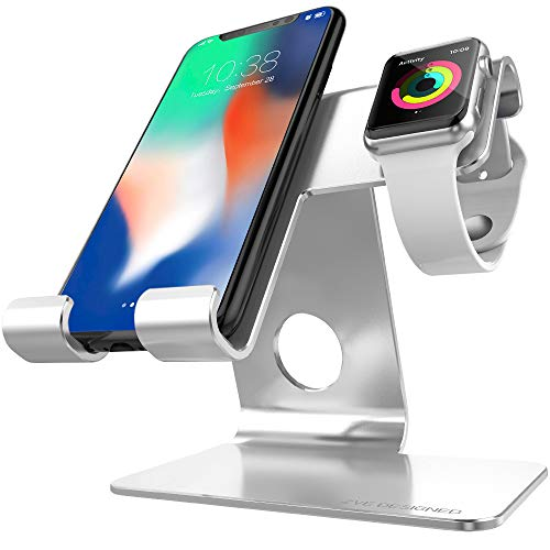 ZVEproof universal IPhone Stand,2 in 1 iwatch charger stand & Tablet Stand Dock Holder Cradle with iwatch Case 42mm,Aluminium Phone Dock for iPhone 7 8X Plus,iWatch 38mm 42mm,Tablets Up to 12.9 sliver from ZVEproof