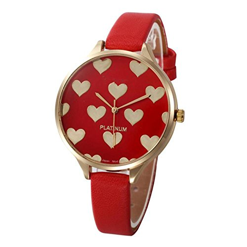 Balakie Women's Watch, Ladies Watch Casual Heart Pattern Small Faux Leather Quartz Analog Wrist Watch Xmas Gift (Red, Alloy) (Heart Women For Watches)