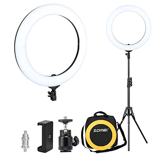 Zomei 18-inch Dimmable LED Ring Light Kit with Stand (58W 5500K), with Plastic Color Filter, Phone Holder, Carrying Bag, Ring Lights for Makeup Portrait YouTube Video Shooting by ZoMei
