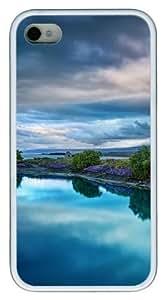 iPhone 4S Funda–lago hermoso diseño personalizado carcasa de TPU para iPhone 4/4S, color blanco