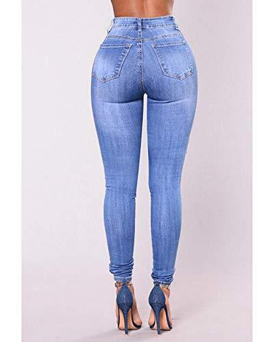 Bleu Femme Dchir Leggings Clair Crayon Denim Casual Quge Genoux Pants Trou zd1nwq