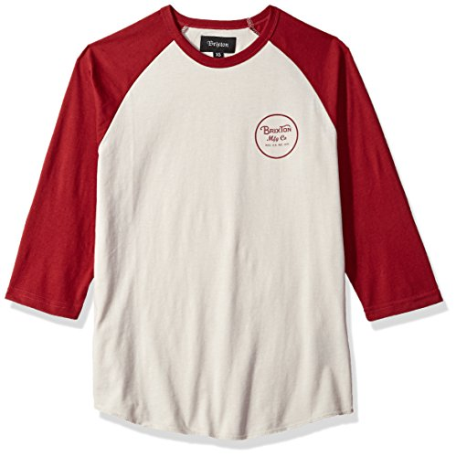 Brixton Men's Wheeler Tailored Fit 3/4 Sleeve Baseball Te...