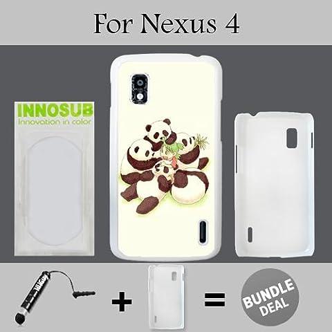 Cute Panda Group Anime Custom LG Nexus 4 Cases-White-Plastic,Bundle 2in1 Comes with Custom Case/Universal Stylus Pen by (Nexus 4 Anime Case)