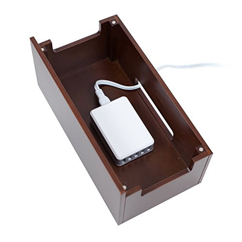 MobileVision Wood Multi Device Organizer Stand and Charging Station for Smartphones, Tablets, and Laptops Includes 5-USB Hub Charger Combo