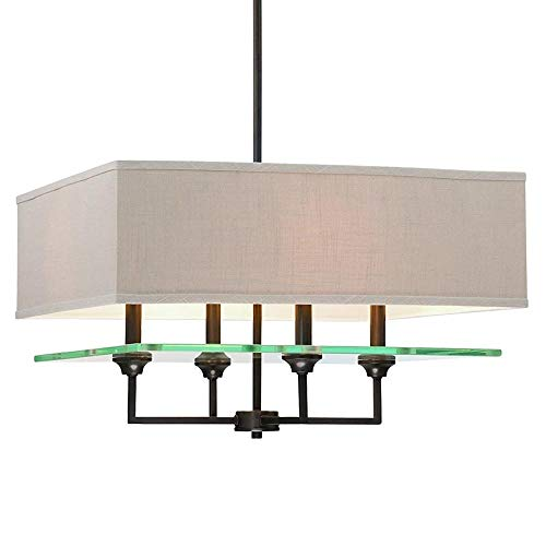 Langdon Mills 10502 Marseilles 4-Light Chandelier, Burnished Bronze with Linen Shade