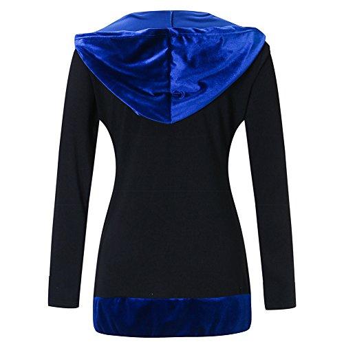 Ibaste Color Chaqueta Cremallera Para Contraste Suelto Las Mujeres Azul Decoración De Tipo 7qw7gA