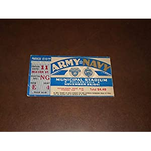 1941 ARMY NAVY COLLEGE FOOTBALL TICKET STUB EX