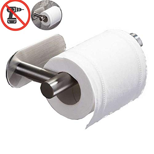 (Cerekony Adhesive Toilet Paper Holder - Toilet Roll Holder for Command Bathroom Accessories Hooks Stick on Wall Stainless Steel Brushed Nickel)