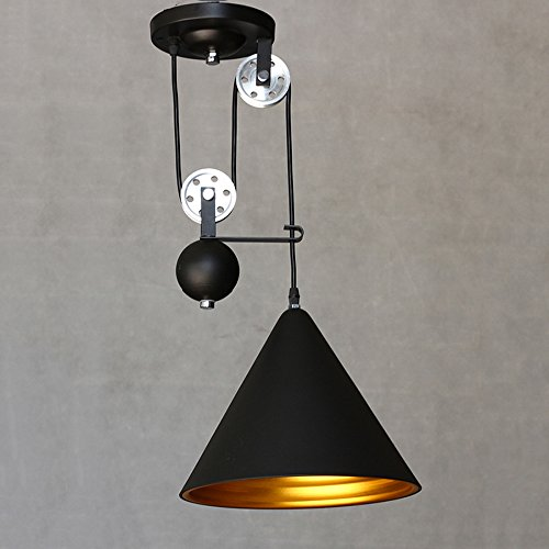 NIUYAO Edison Vintage Retro Loft Industrial Pulley Pendant Light with Black Cone Shade Extendable Wire Lamps Retractable Lighting (Cone Pulley)